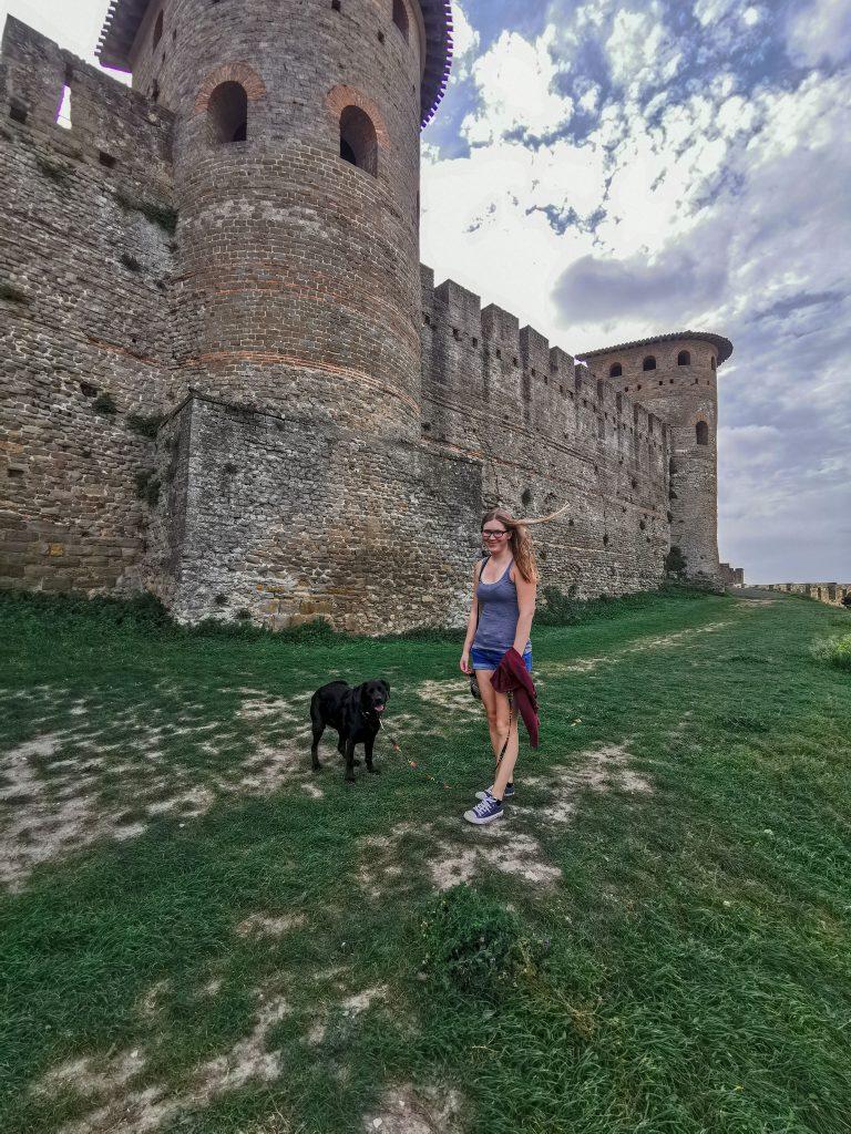 Carcasonne in Frankreich mit Hund