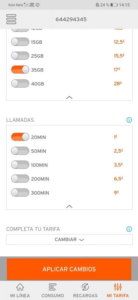 SIM Karte Simyo Spanien App