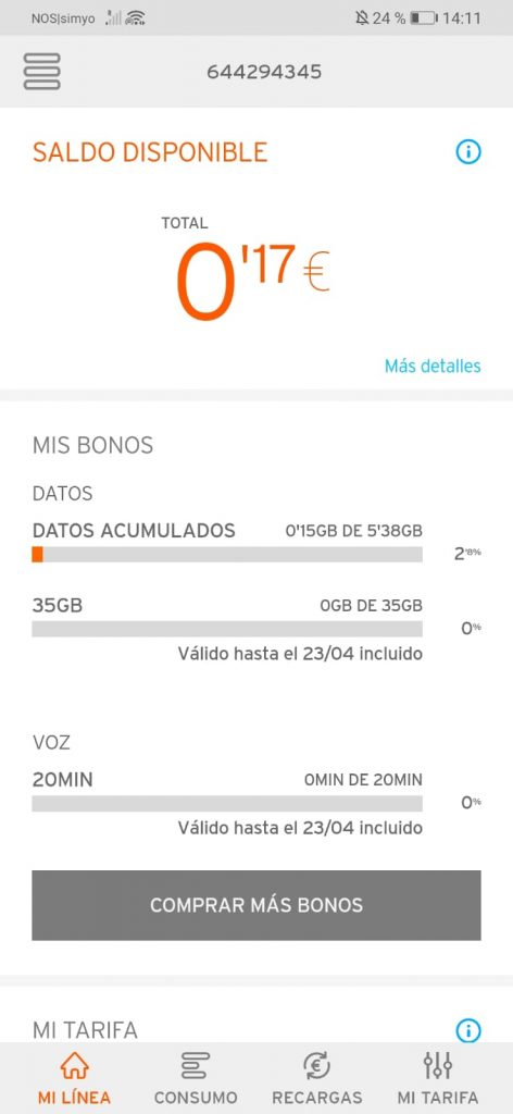 Simyo App Übersicht